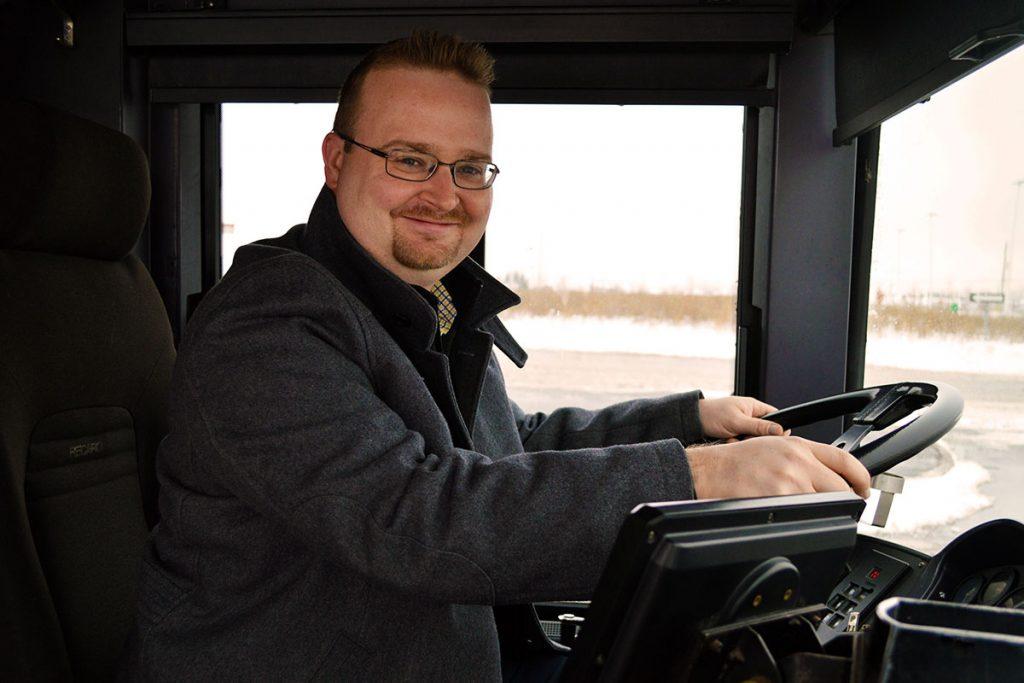 Stephen Blais driving the bus