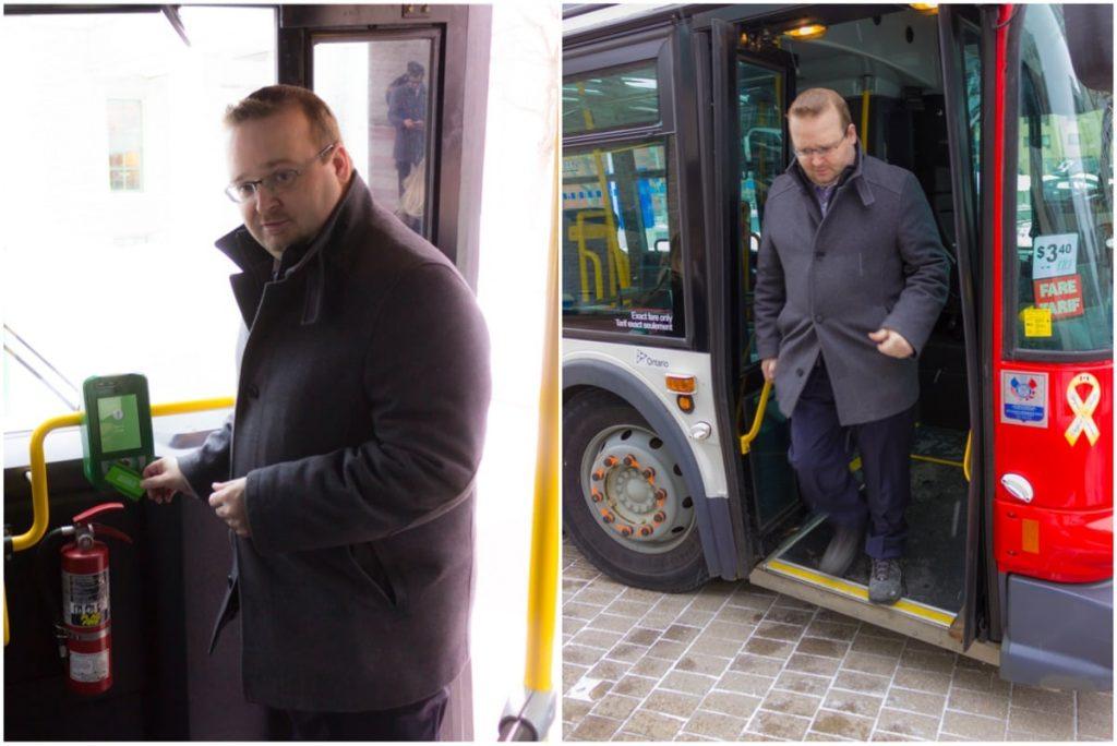 Stephen Blais riding the bus